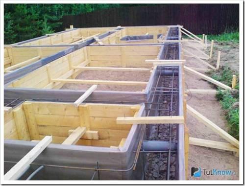 Подготовка каркаса из арматуры и заливка фундамента