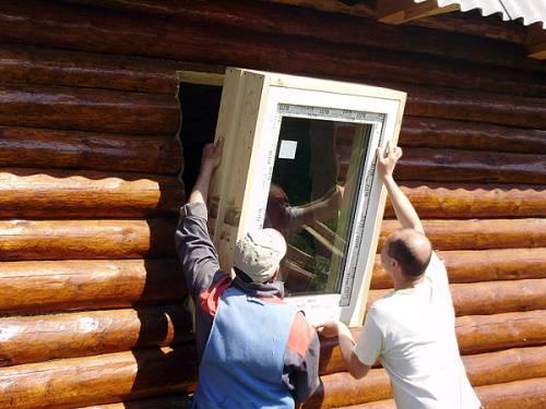 Монтаж окна пвх в бревенчатом доме