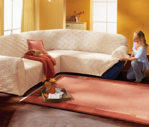 как надеть чехол на угловой диван