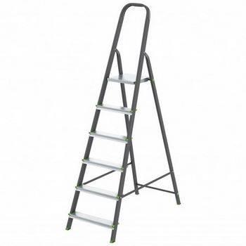 Купить Стремянка СИБРТЕХ Антрацит 97956 6 ступеней, стальной профиль, алюминиевые ступени