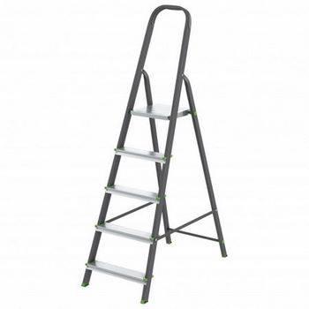 Купить Стремянка СИБРТЕХ Антрацит 97955 5 ступеней, стальной профиль, алюминиевые ступени