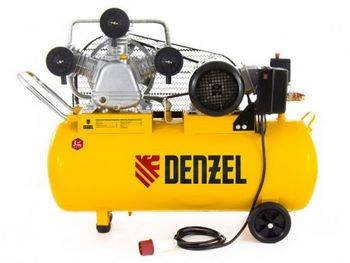 Купить Компрессор PC 3/100-504, масляный, ременный, производительность 504 л/м, мощность 3 кВт DENZEL 58098