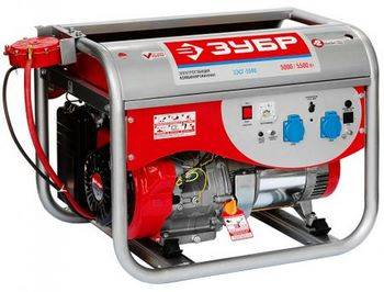 Купить Электростанция комбинированная бензин-газ (сжиженный) ЗУБР ЗЭСГ-5500 4-х тактная, ручной пуск, 220/12В, 5500Вт
