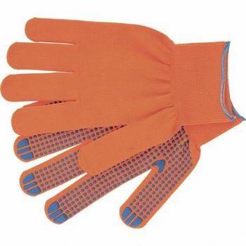 Купить Перчатки нейлон, ПВХ точка, 13 класс, оранжевые, XL