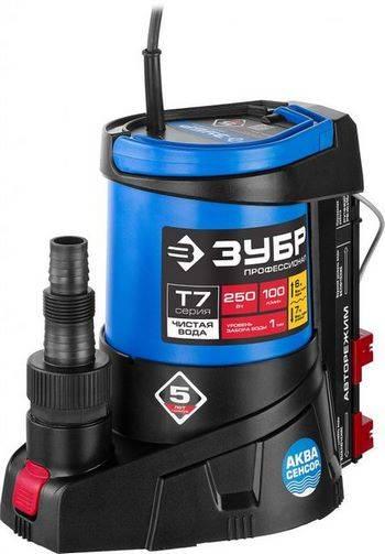 Купить Насос дренажный погружной для чистой воды ЗУБР ПРОФЕССИОНАЛ АкваСенсор НПЧ-Т7-250 250 Вт, 100 л/мин