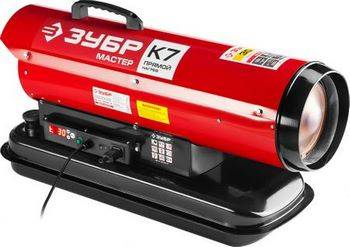 Купить Пушка дизельная тепловая ЗУБР МАСТЕР ДП-К7-30000-Д 220В, 30 кВт, 400 м.куб/час, 18.5л, 2.5кг/ч, дисплей, подкл. внешнего термостата