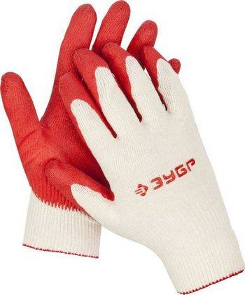 Купить Перчатки х/б трикотажные ЗУБР МАСТЕР 13 класс, обливная ладонь из латекса, размер L-XL, 10 пар
