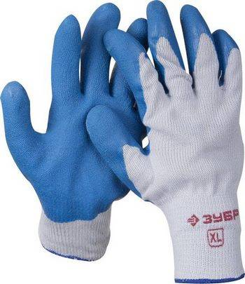Купить Перчатки рабочие с резиновым рельефным покрытием ЗУБР размер XL
