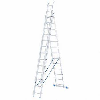 Купить Лестница трехсекционная алюминиевая СИБРТЕХ 3 х 13 ступеней