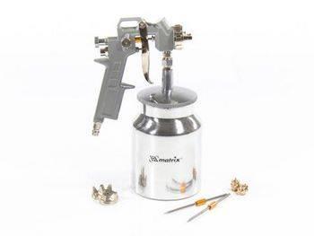 Купить Краскораспылитель пневматический с нижним бачком V=1, 0 л + сопла диаметром 1.2, 1.5 и 1.8 мм MATRIX