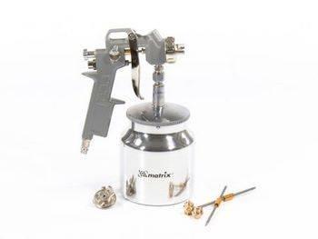 Купить Краскораспылитель пневматический с нижним бачком V=0, 75 л + сопла диаметром 1.2, 1.5 и 1.8 мм MATRIX