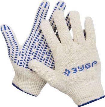 Купить Перчатки х/б трикотажные с защитой от скольжения ЗУБР 12 класс, размер S-M