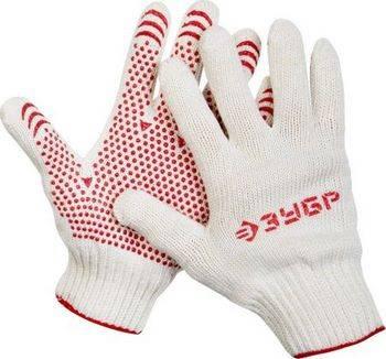 Купить Перчатки х/б трикотажные с защитой от скольжения ЗУБР МАСТЕР 7 класс, размер S-M