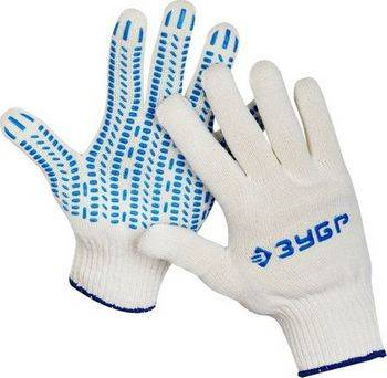 Купить Перчатки х/б трикотажные с защитой от скольжения ЗУБР 10 класс, размер L-XL