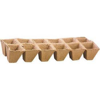 Купить Торфяные горшочки 50*50 мм, квадратные (блок по 12 ячеек)
