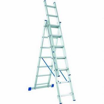 Купить Лестница трехсекционная алюминиевая СИБРТЕХ 3 х 9 ступеней