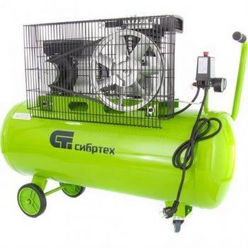 Купить Компрессор воздушный КР-2200/100, 2, 2 кВт, 350 л/мин, 100 л, ременной привод, масляный, СИБРТЕХ, 580