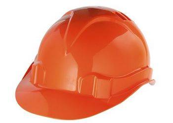 Купить Каска защитная из ударопрочной пластмассы, оранжевая СибрТех 89113
