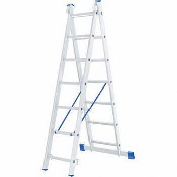 Купить Лестница двухсекционная алюминиевая СИБРТЕХ 2 х 7 ступеней