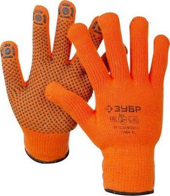 Купить Перчатки акриловые утеплённые с защитой от скольжения ЗУБР ПРОФЕССИОНАЛ Ангара 11464-XL 10 класс, сигнальный цвет, размер L-XL