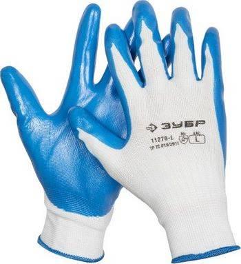 Купить Перчатки маслостойкие для точных работ с нитриловым покрытием ЗУБР МАСТЕР размер L (9)