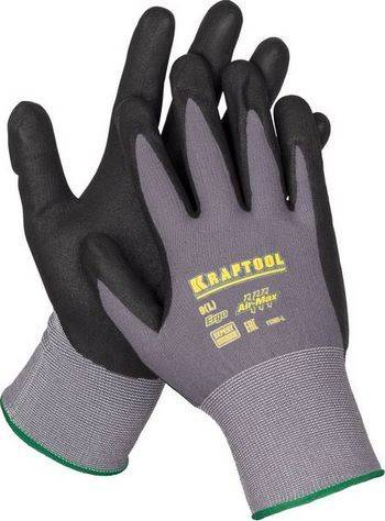 Купить Перчатки с нитриловым покрытием из микро пены, для точных работ KRAFTOOL EXPERT 11285-L