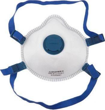 Купить Полумаска фильтрующая коническая, с клапаном, многослойная, класс защиты FFP3. STAYER PROFESSIONAL 11110-3