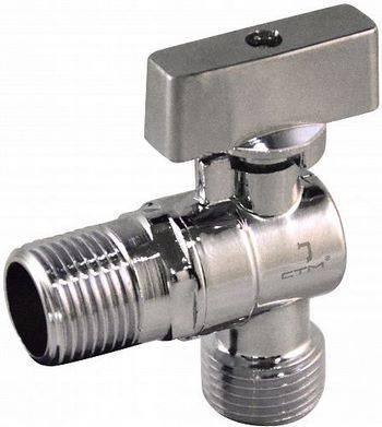 Купить Кран шаровой угловой СТМ CAMR1212 1/2x1/2 дюйма для бытовых приборов, тип «бабочка», штуцер/штуцер, отражатель, хром