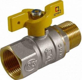 Купить Кран шаровой CTM ГАЗ CGFMB012 1/2 дюйма для газа, тип «бабочка», гайка/штуцер