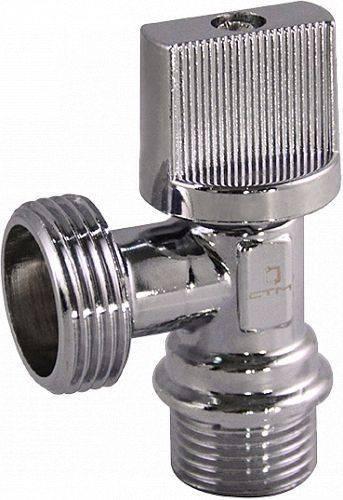 Купить Кран шаровой угловой СТМ CAMV1234 1/2x3/4 дюйма для бытовых приборов, тип «бабочка», штуцер/штуцер, отражатель, хром