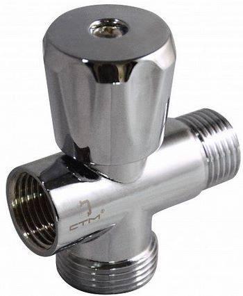 Купить Вентиль трёхпроходной СТМ CV301234 1/2x1/2x3/4 дюйма, маховик, штуцер/штуцер/гайка, хром