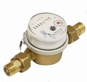 Купить Счётчик воды ЭКО НОМ СВУЭ-110 для холодной и горячей, штуцеры и обратный клапан в комплекте