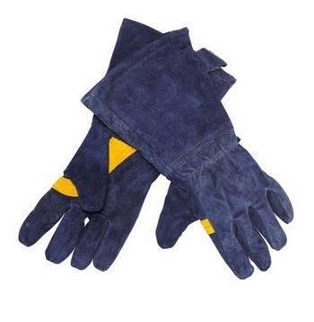 Купить Краги сварщика ELITECH 0606.016300 синие, спилок, нить kevlar, накладка на ладони