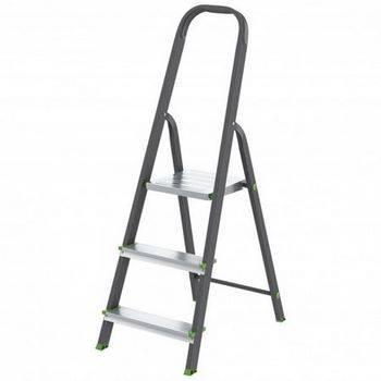 Купить Стремянка СИБРТЕХ Антрацит 97953 3 ступени, стальной профиль, алюминиевые ступени