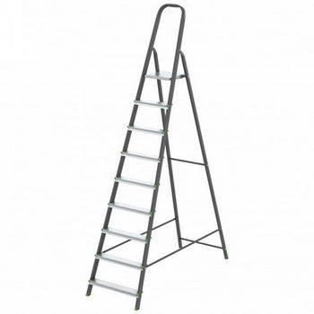 Купить Стремянка СИБРТЕХ Антрацит 97959 9 ступеней, стальной профиль, алюминиевые ступени